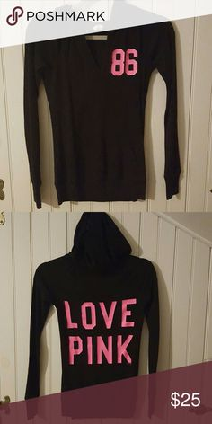 VS PINK light weight tshirt hoodie Light weight vneck hoodie with lettering on front and back. The lettering is in perfect condition, no cracking at all. Has a kangaroo style pocket on front, super cute and comfy. PINK Victoria's Secret Sweaters