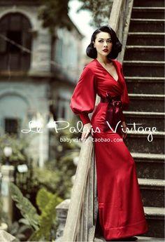 Le Palais Winter Vintage Limited Edition Retro Red Lantern Sleeve Wide Leg Jumpsuit
