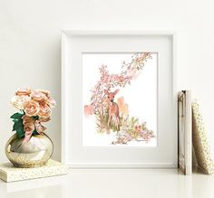 Spring Fawn Deer Original Watercolor Pen Ink Painting Woodland Rose-color Nature Baby Forest Art