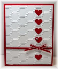The card - embossing folder used for background is from SU. Added some punched hearts and ribbon. Colors are real red and white. by patrice Valentines Day Cards Handmade, Valentines Diy, Greeting Cards Handmade, Handmade Anniversary Cards, Cricut Anniversary Card, Hexagon Cards, Valentines Bricolage, Embossed Cards, Heart Cards
