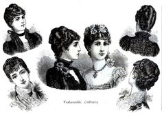 """Fashionable coiffures"" of 1884. ~ http://pastalamode.webs.com/victorianpartii.htm"