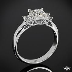 """White Gold """"Trellis"""" 3 Stone Engagement Ring for Princess *Setting Only* Trilogy Engagement Ring, Three Stone Engagement Rings, Wedding Trellis, Wedding Rings For Women, Princess Cut, White Gold, Crystals, Jewelry, Diamonds"""