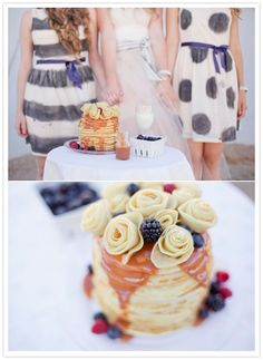 Photographer: Sara Lucero -- Bridesmaid Breakfast Party -- crepe roses, warm caramel, and berry topped pancakes Pancake Bar, Pancake Stack, Breakfast Pancakes, Breakfast For Dinner, Best Breakfast, Morning Breakfast, Brunch Party, Brunch Wedding, Wedding Breakfast