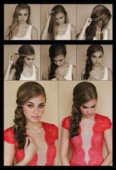 We love the sweetness of this twisted, curled side braid for all sorts of summer events. Blow hair out with a rounded brush for a great base for this style.