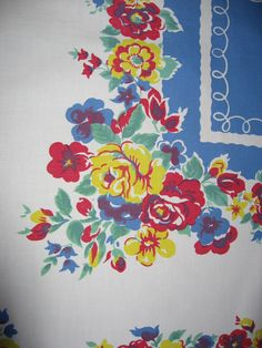 Vintage 1940s cotton tablecloth. Red blue by VintageRoseTattoo