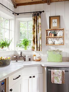 Limestone Countertops And Stainless Steel Appliances Give A Modern  Practicality To This Charming Vintage Kitchen