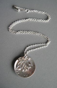 Lotus Flower Sterling Silver NECKLACE -- Be Brave