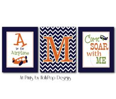 Nursery Wall Decor Baby Boy Wall Art Set of 3 by HollyPopDesigns, $37.00