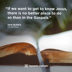 """""""If we want to get to know Jesus, there is no better place to do so than in the Gospels."""" Dan Burke, Into the Deep Catholic Daily, Dynamic Catholic, Catholic Quotes, Catholic Prayers, Prayer Quotes, Spiritual Quotes, Divine Mercy, Flesh And Blood, Daily Meditation"""