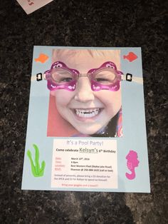Pool party birthday invitation! Put goggles on your child's picture!! Make a splash!!