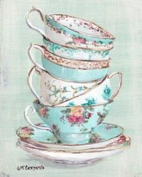 Aqua Themed Stacked Tea Cups - Postage is included Australia wide only