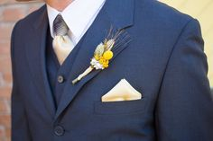 navy suit with yellow details #groom