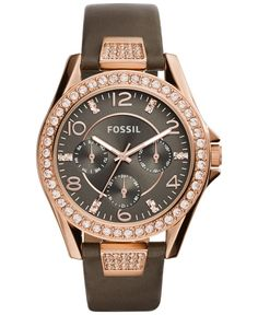 Fossil Women's Riley Gray Leather Strap Watch 38mm ES3888