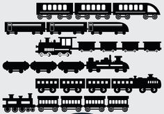 Train Silhouette cliparts added here in black and white vector format. From the ancient day trains to modern technology trains are there in this clipart set. Train Silhouette, Silhouette Clip Art, Silhouette Machine, School Themes, Vector Design, Paper Cutting, Transportation, Infographic, My Etsy Shop