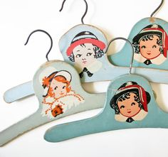 4 Vintage Child Hangers  Shades of BlueGreen  by BeeJayKay on Etsy, $28.00