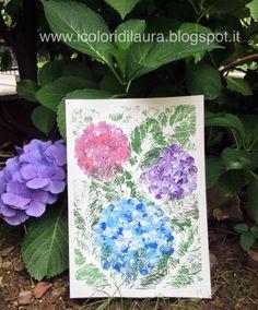 Dipingere la natura coi bambini...tutorial ortensie - I colori di Laura