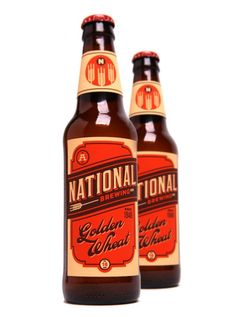 student work branding design for National Brewing Co. golden wheat ale by Bryan Couchman. Good job dude!