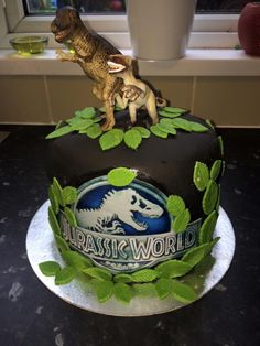 Jurassic world cake I made for my son