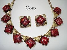 Coro Red Confetti Necklace & Earrings