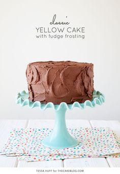 Classic Yellow Cake - Style Sweet CA (chocolate cake icing fudge frosting) Fudge Frosting, Frosting Recipes, Cake Recipes, Cream Frosting, Shoe Cakes, Cupcake Cakes, Cupcakes, Purse Cakes, Chocolate Cake Icing