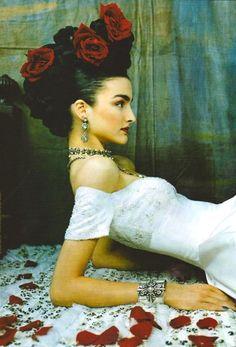 iheartprincesses:  A Frida Kahlo-inspired ad for Reem Acra bridal couture.