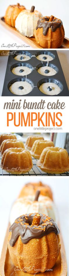 These mini bundt cake pumpkins are ADORABLE! And they're really easy to make! Such a pretty dessert for Halloween or Thanksgiving!