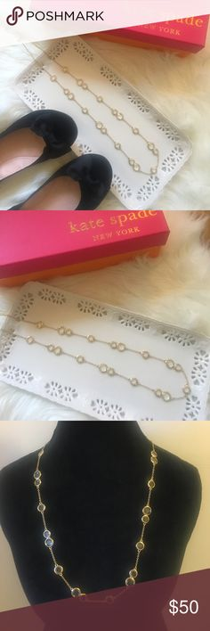 ☀️SALE☀️Kate ♠️ Spade Gold Crystal Necklace NWOT Perfect gold and crystal Kate ♠️ Spade long necklace. It has all the adorable details including a small gold ♠️ on the clasp. It doesn't come with the jewelry bag and is reflected in the price. kate spade Jewelry Necklaces