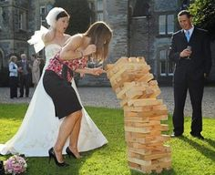 Giant Jenga - the Perfect Lawn Game for a wedding. *Truth or Dare Giant Jenga Lawn Games Wedding, Jenga Wedding, Camping Wedding, Reception Games, Reception Ideas, Reception Activities, Wedding Activities, Party Activities, Wedding Receptions