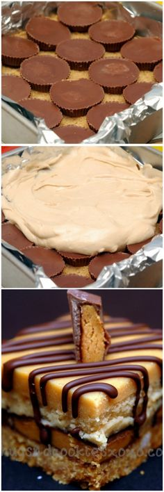 Peanut butter cheesecake over peanut butter cups sitting on a graham cracker…