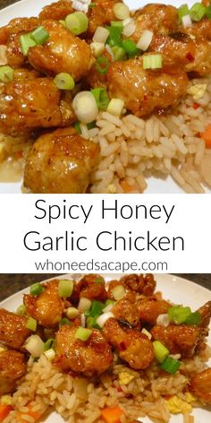 Spicy Honey Garlic Chicken - Who Needs A Cape? - Who needs carry-out when you can make this delicious restaurant quality meal at home! Spicy Honey Garlic Chicken is comfort food that the whole family can enjoy! Easy Honey Garlic Chicken, Garlic Chicken Recipes, Spicy Recipes, Asian Recipes, Cooking Recipes, Healthy Recipes, Cooking Ribs, Balsamic Chicken, Cooking Games