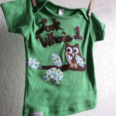 First birthday Owl, BOYS 1st Personalized Green tee , Look Whoo's 1 shirt,  fall baby childrens clothes - size 12-18 months. $28.00, via Etsy.