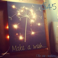 Dandelion canvas diy pinterest dandelions canvases and lights make a wish light up canvas on etsy 4500 aloadofball Images