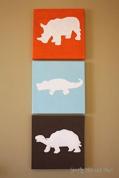 DIY Stenciled Canvas Art DIY Home Decor might try this with beach themed stencils