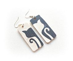 Wood hand-painted earrings Cats illustrated by CreoErgoSumHandmade