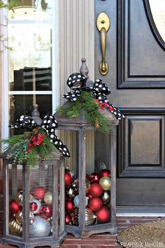 "Christmas Frame Wreath (via Pinterest) – Paint a frame red then tie a big green bow with bulbs hanging down! Fish Bowl Snowman – Stack fishbowls on top of eachother and fill with fun Christmas items! Sliding Penguins– Found on Pinterest it says ""Penguin snow slide! I put garland down first, then lights, then fluffy …"