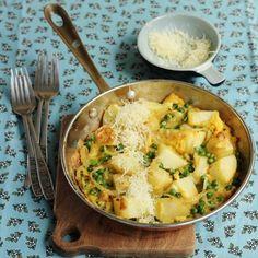 One-pot pea, potato, and onion frittata
