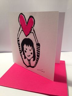 Valentines Handprinted gift card on Etsy, £2.50