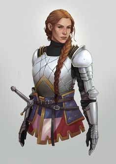 f npc Paladin City Guard Captain Plate Armor Longsword female urban female lg Fantasy Character Design, Character Design Inspiration, Character Concept, Character Art, Female Armor, Female Knight, Lady Knight, Knight Art, D D Characters