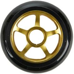 pair pro kick stunt scooter wheels gold solid metal core 100mm abec 11 bearing