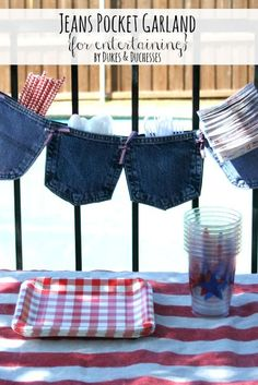 no-sew jeans pocket garland for holding cutlery and napkins