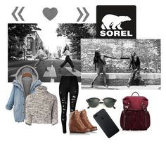 """Kick Up the Leaves (Stylishly) With SOREL: CONTEST ENTRY"" by mousytache ❤ liked on Polyvore featuring SOREL, Brunello Cucinelli, M Z Wallace, Ray-Ban and sorelstyle"