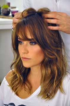 Hair Bangs Balayage Cut And Color 61 Best Ideas Medium Hair Cuts, Medium Hair Styles, Short Hair Styles, Bangs And Balayage, Great Hair, Hairstyles With Bangs, Pretty Hairstyles, Hair Highlights, Ombre Hair