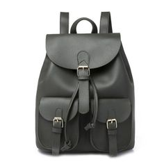 8ab2f93f39 pu leather backpack for women bag Casual solid drawstring bag College girls  back pack Female bagpack Mochila Multibolsillo
