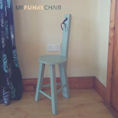 While Mr Funk's Chair is generally found with a simple wooden finish, some dare to add a lick of paint to brighten him up. . Here he is in a wonderful light blue – very funky indeed. . _______________________________ ********************************* . Mr. Funk's Chair is... ON SALE NOW 🛍️️️ . One-of-a-kind and 100% Irish made ☘️ . Limited stock🔥 . Make Sitting Great Again! 💎 . Be one of the lucky few to nab Mr. Funk's Chair 😎 Funky Chairs, Cool Chairs, Get Funky, Rustic Chair, Wood Worker, Wooden Stools, Wooden Furniture, Handmade Wooden, Modern Rustic