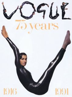 Yasmeen Ghauri for Vogue, issue 1991 | Magazine Cover: Graphic Design, Typography, Photography |