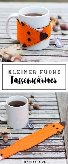 Kleiner Fuchs Tassenwärmer. Das perfekte DIY für den Herbst und kalte Tage.