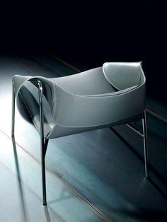 Bend Full Grain Aniline Leather Lounge Armchair Designer: Patrick Norguet  Chromed Metal Structure.