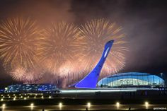 Sochi Coastal Cluster - Bolyshoi Arena and Olympic Flame Youth Olympic Games, Winter Olympic Games, Winter Olympics 2014, Olympic Flame, Actual Time, Going For Gold, Frozen In Time, Marina Bay Sands, Coastal