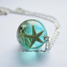 WOW!!!! This is stunning!!!! The Mermaid's Necklace 13 Nautical Jewelry Resin Starfish Tiny Seashells Aqua Specimen Necklace Fairy Tale Fantasy Unique Handmade