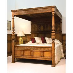 English Oak Magnificent Four-Poster Bed